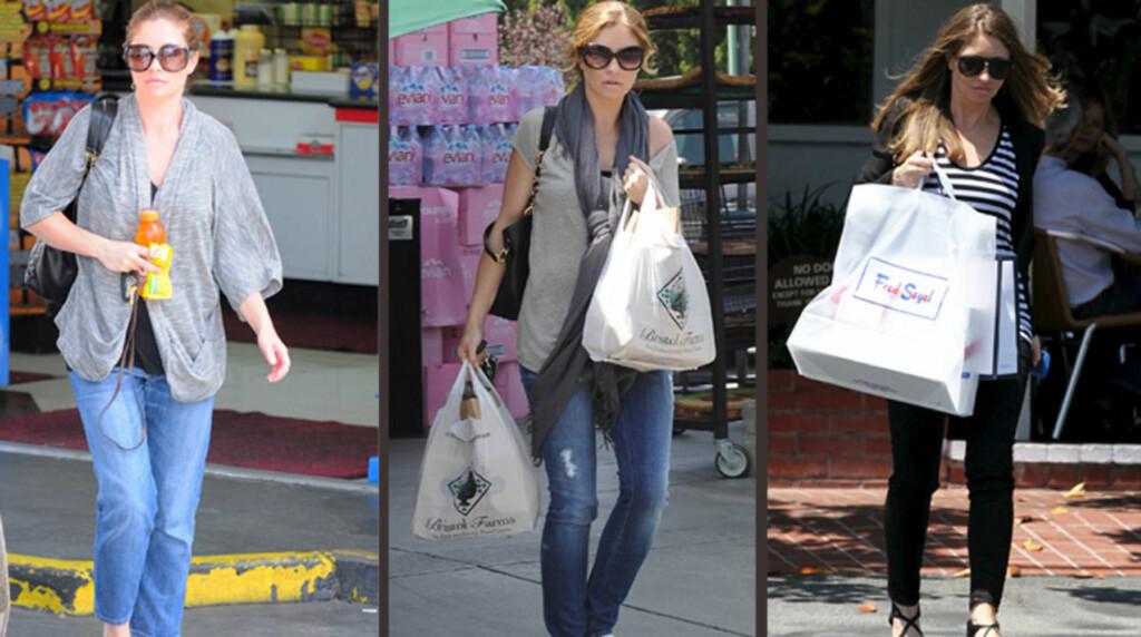GRAVID: Skuespiller Rebecca Gayheart skal nå være gravid med sitt annet barn. De siste ukene er hun blitt fotografert med ulike typer «magekamuflasje» - vide topper, lange skjerf og stooore handleposer. Foto: All Over Press