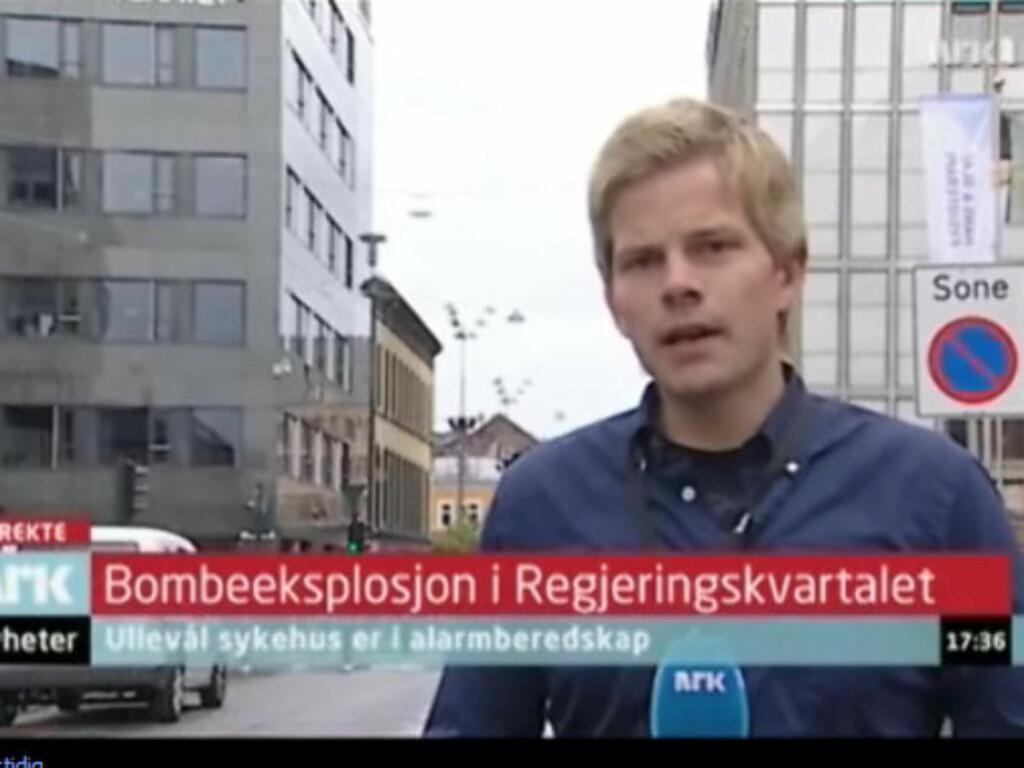 SJOKKERT: Kort tiden etter at det smalt i Regjeringskvartalet rapporterte Peter Svaar direkte på NRK. Senere samme kveld ble han sjokkert over å finne ut av drapsmannen var hans tidligere venn. Foto: NRK