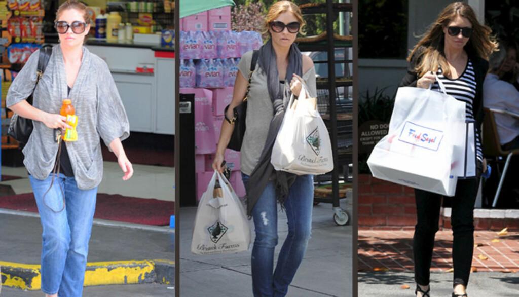 AVSLØRT: Skuespiller Rebecca Gayheart har den siste tiden  blitt fotografert med ulike typer «magekamuflasje» - vide topper, lange skjerf og store handleposer. Det har satt fart i graviditetsryktene, og nå bekrefter hun og Eric Dane at de venter barn. Foto: All Over Press