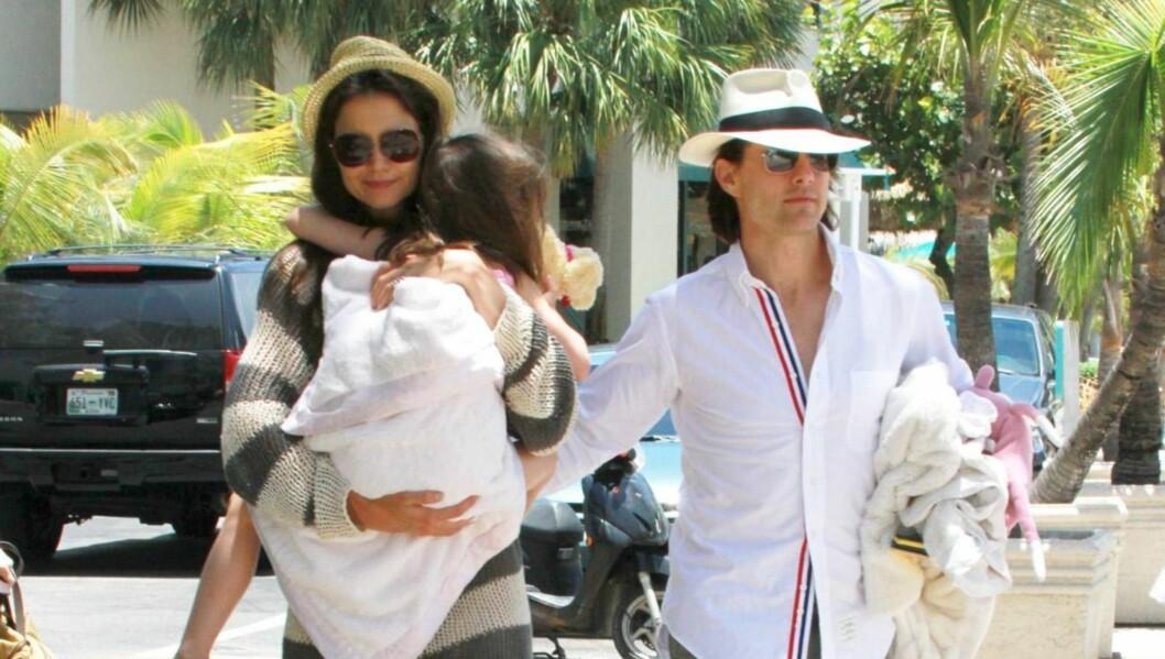 LYKKELIG MAMMA: Katie Holmes, mannen Tom Cruise og datteren Suri ser ut til å ha det svært fint sammen. Men på jobbfronten skulle gjerne Katie hatt det bedre. Foto: All Over Press
