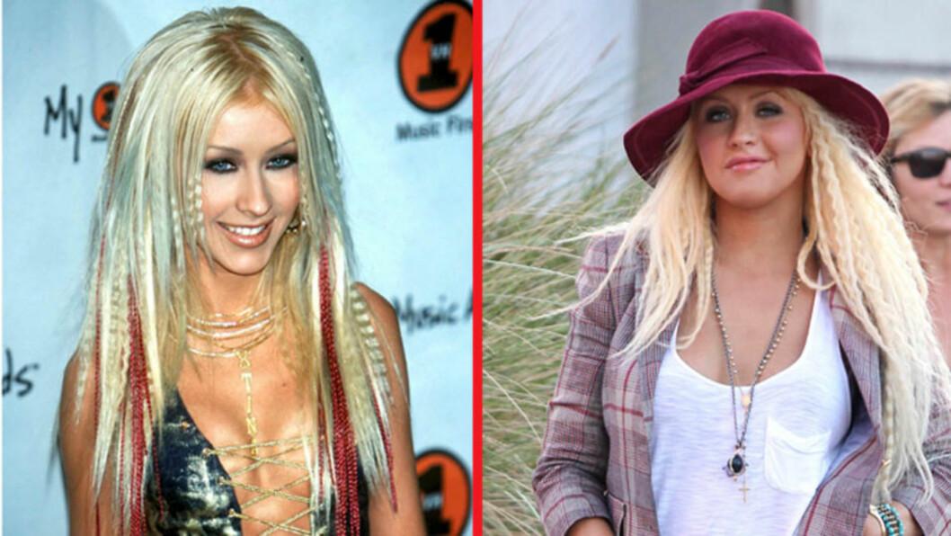 <strong>FØR OG NÅ:</strong> Popstjernen Christina Aguilera lengter tydeligvis tilbake til år 2000 (t.v), da karrieren og privatlivet var mindre skandalebestrødd. På vei til studio i Los Angeles nylig (t.h) gikk hun for en stilmiks som får pressen til å stusse. Foto: All Over Press