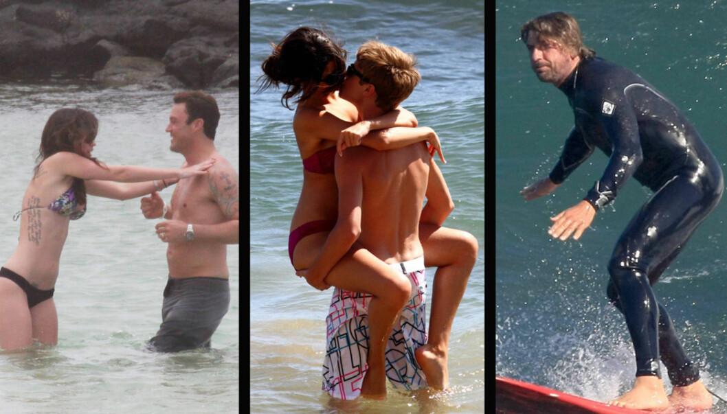<strong>SOMMERIDYLL:</strong> (F.v.) Megan Fox leker med ektemannen Brian Austin Green i vannet utenfor Hawaii, mens popartisten Selena Gomez flørter heftig med kjæresten Selena Gomez på samme sted. Filmstjernen Gerard Butler foretrekker å teste surfebrettet i Malibu