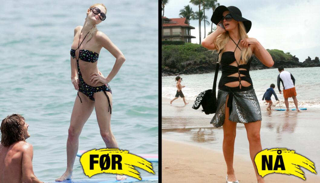 VEKTKRITIKK: I desember i fjor besøkte Paris Hilton Hawaii sammen med venner, og bildene saom du ser til høyre av stjernen fikk flere kjendisnettsteder i å spekulere i om hun var gravid.  Nå innrømmer Paris at hun på sitt tynneste veide 47 kg. Bilde Foto: All over press