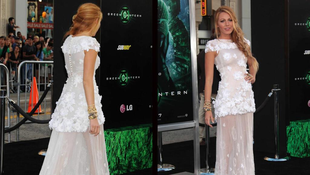 GJENNOMSIKTIG KJOLE:  Blake Lively fikk mye skryt for sin gjennomsiktige Chanel-kjole på premieren til filmen «The Green Lantern». Foto: Stella Pictures