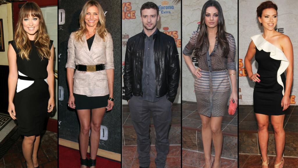 HEFTIG FLØRTING: Det hevdes Justin Timberlake holder på med Olivia Wilde, Cameron Diaz, Mila Kunis og Scarlett Johansson samtidig. Foto: All Over Press
