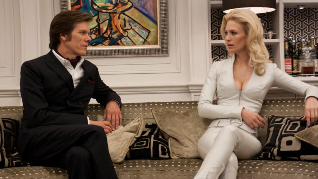 FÅR KRITIKK: January Jones får kritikk av «LOST»-produsent Damon Lindelof for sin innsats som Emma Frost i «X-Men: First Class». Her i en scene fra filmen, sammen med motspiller Kevin Bacon.  Foto: Stella Pictures
