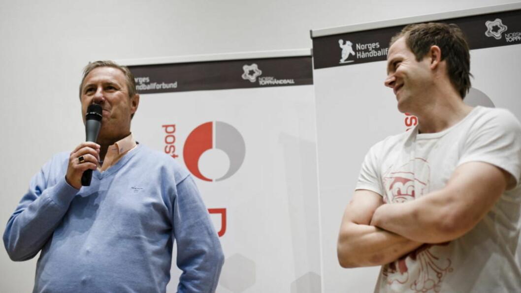 <strong>VIL TILBAKE TIL TOPPEN:</strong> Viking-trener Gunnar Blombäck og Kjetil Strand vil løfte Stavanger opp som en sentral håndballby igjen. Foto: Aleksander Andersen/Scanpix