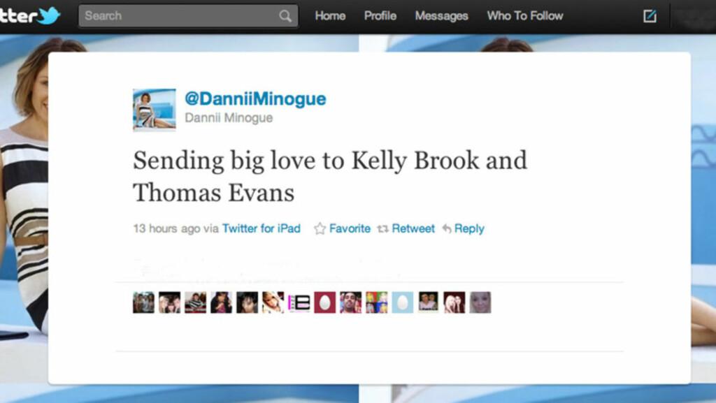 STOR STØTTE: Kelly Brook og Thom Evans har fått mye støtte og mange hilsener etter at nyheten om spontanaborten ble kjent. Stjerner som Dannii Minogue (over), Mel B og Katie Price er blant de som har uttrykt sin sympati for paret på Twitter. Nå takke Foto: All Over Press