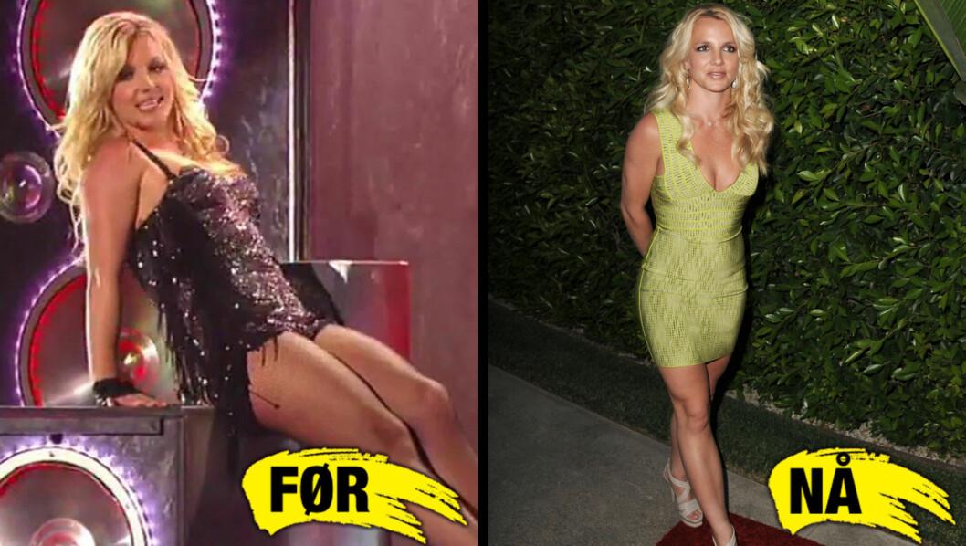 TOK GREP: - Britney Spears har gått ned mer enn 13 kilo på 30 dager, hevder avisen National Enquirer å vite. Her er hun avbildet like før kuren startet på bildet til venstre og etter på bildet til høyre. Foto: All over press