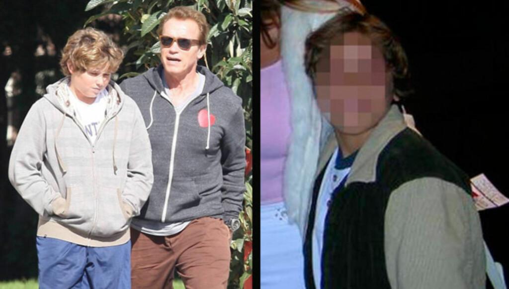 JEVNGAMLE SØNNER: Kun fem dager skiller fødselen til Arnold Schwarzeneggers sønn Christopher og hans til nå ukjente sønn, som han fikk med elskerinnen Mildred Baena. Foto: All Over