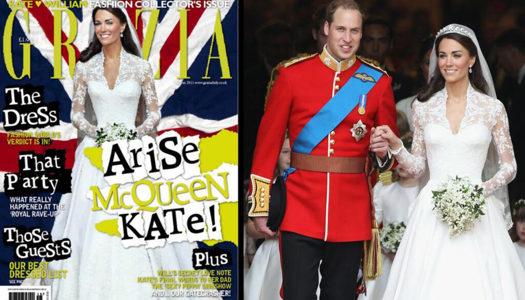 ENDRET PÅ KATE: Prins William ble fjernet, høyrearmen erstattet med en kopi av venstrearmen og midjen er blitt tynnere på det spanske magasinet Grazias coverbilde av Kate Middleton.  Foto: All over press