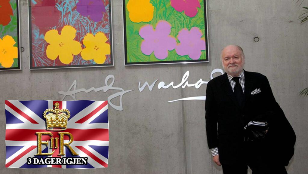 KONGEEKSPERT OG -ENTUSIAST: Kjell Arne Totland er klar for sitt 22. kongelig bryllup. Her foran Andy Warhols signatur. Den amerikanske popkunstneren har blant annet laget portretter av vår egen dronning Sonja, så der har vi linken.