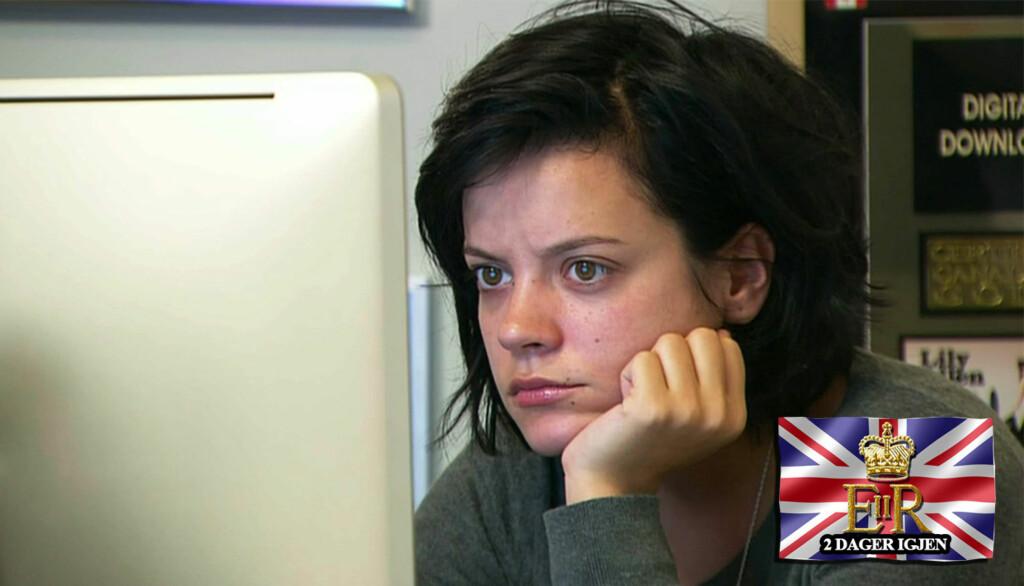 IKKE INVITERT: Lily Allen er ikke blant de celebre gjestene som får overvære det kongelige bryllupet i London på fredag.