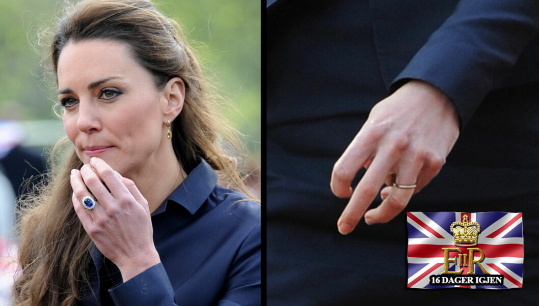 RINGTRØBBEL FØR BRYLLUPET: Kate Middleton har gått ned så mye i vekt før bryllupet at forlovelsesringen ikke sitter ordentlig på. Under mandagens oppdrag ser man på flere bilder at hun hadde tydelige problemer med at ringen snurret rundt, og hun sk Foto: All over press