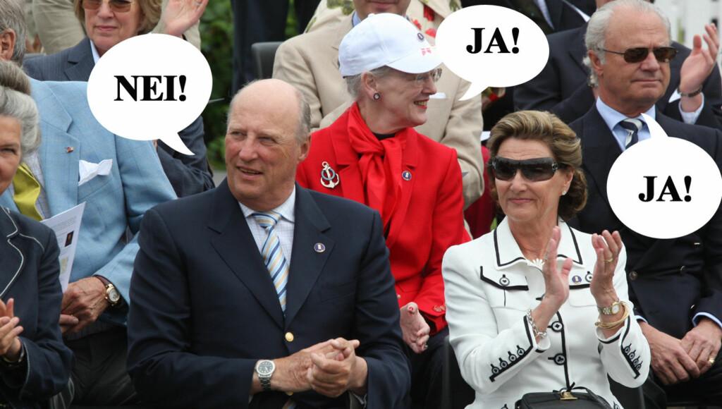 SA NEI: Dronning Margrethe og kong Carl Gustaf hadde ingen innsigelser mot bruken av navnet Konge for det nye reklamebyrået. Det hadde imidlertid det norske hoffet. Foto: SCANPIX