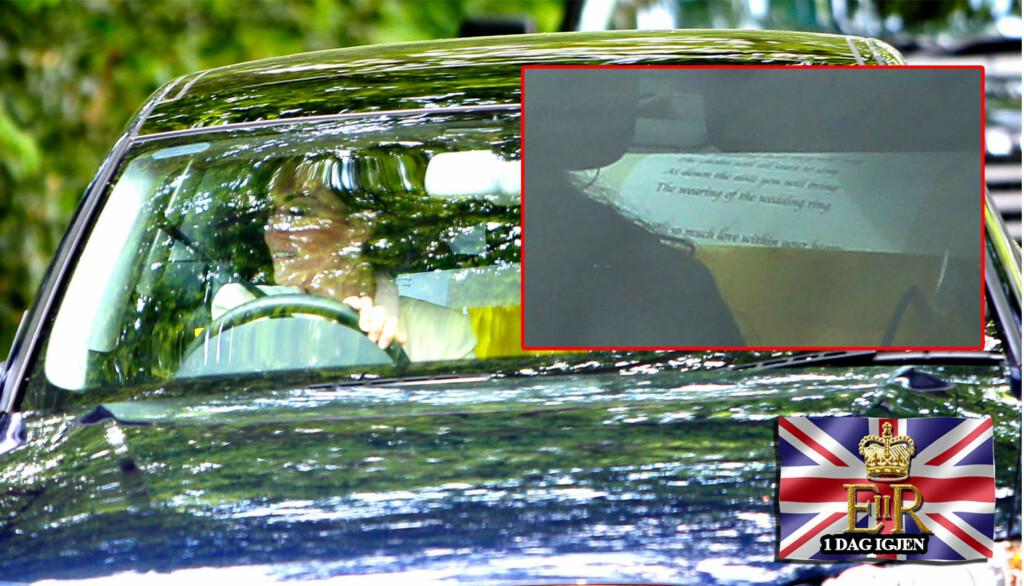 BRYLLUPSLØFTENE?: Bildet av et ark bak i bilen til Kate Middleton, da hun kjørte selv til Clarence House setter fart i spekulasjoner om det var bryllupsløftene hun har skrevet på arket. Foto: All over press