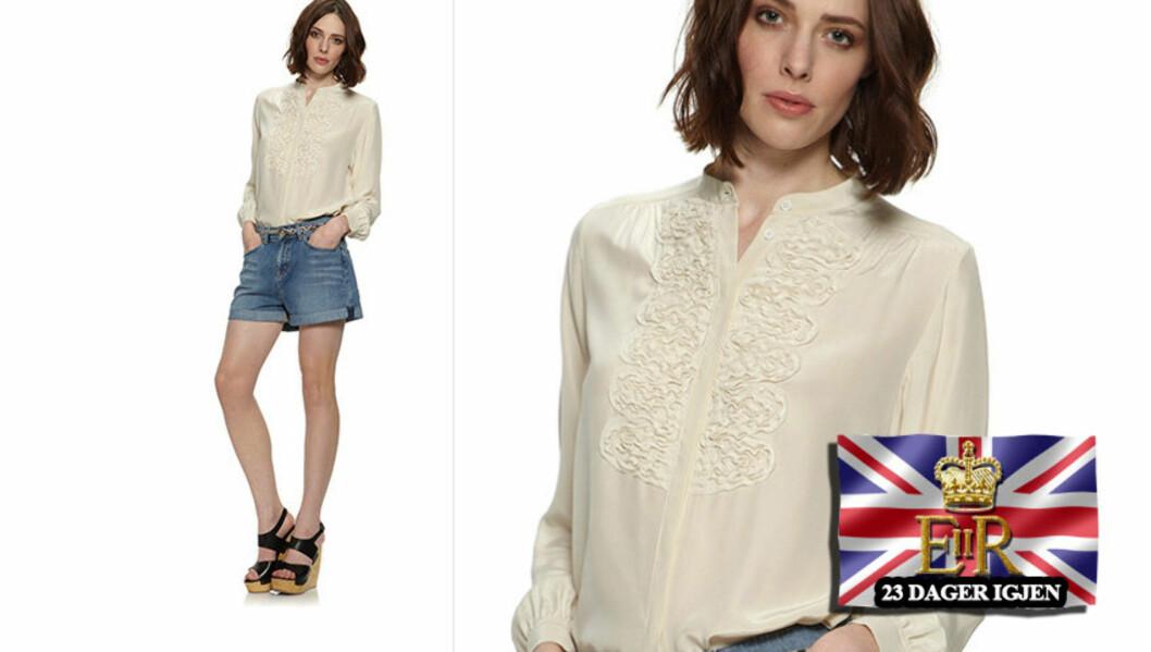 <strong>ETTERTRAKTET:</strong> Den kremfargede blusen fra Whistles ble revet fra butikkhyllene etter at den ble sett på Kate Middleton. Nå er den tilbake til salgs igjen. Foto: www.whistles.co.uk