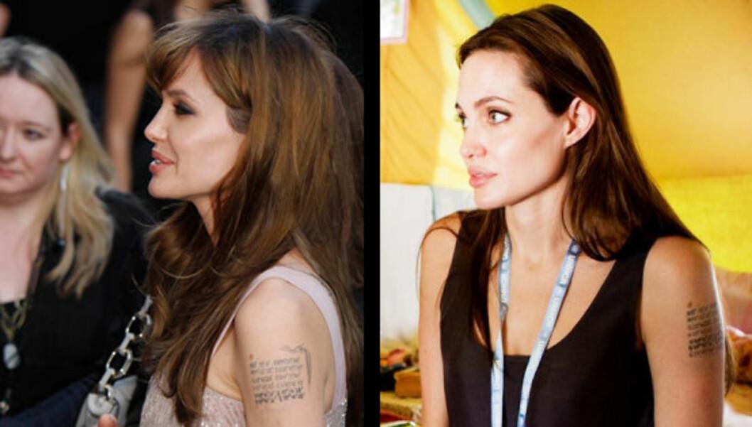<strong>FØR OG ETTER:</strong> Til høyre ser vi Angelina Jolie fotografert denne uken, hvor hun avslørte at hun har fått en syvende tatovering på overarmen. Bildet til venstre er tatt i august. Foto: Stella Pictures / All Over