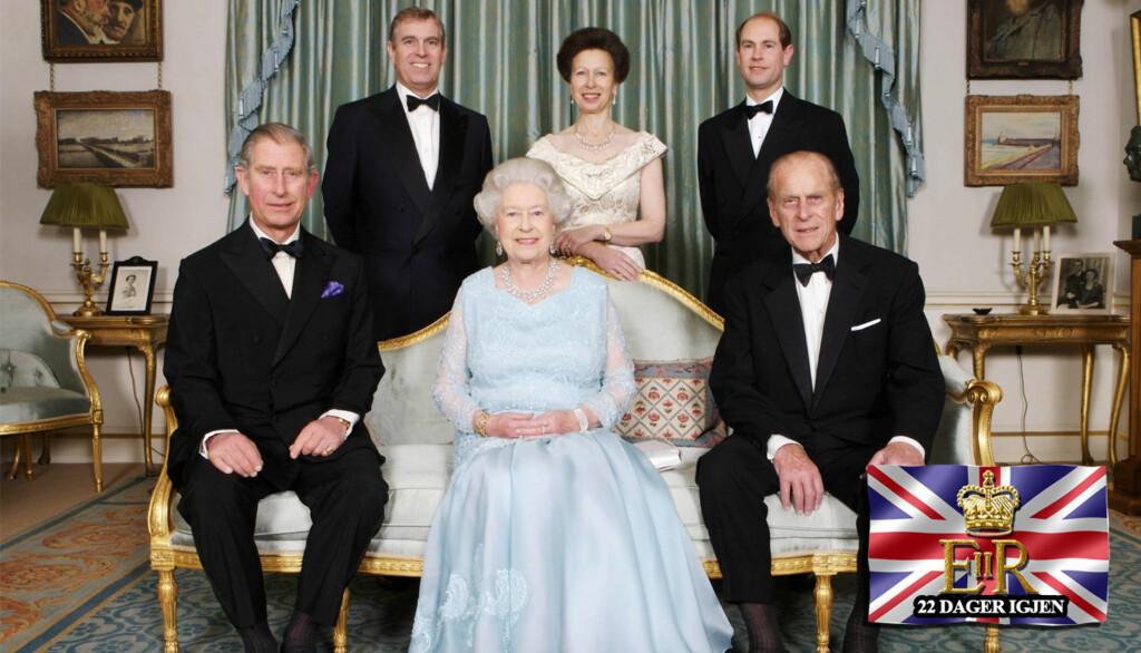 SKANDALEFAMILIE: Av dronning Elizabeths fire barn er det bare prins Edward (bakerst til høyre) som ikke har skilt seg. På bildet er fra venstre prins Charles, dronning Elizabeth og prins Philip på første rad, prins Andrew, prinsesse Anne og prins Edwa Foto: Scanpix