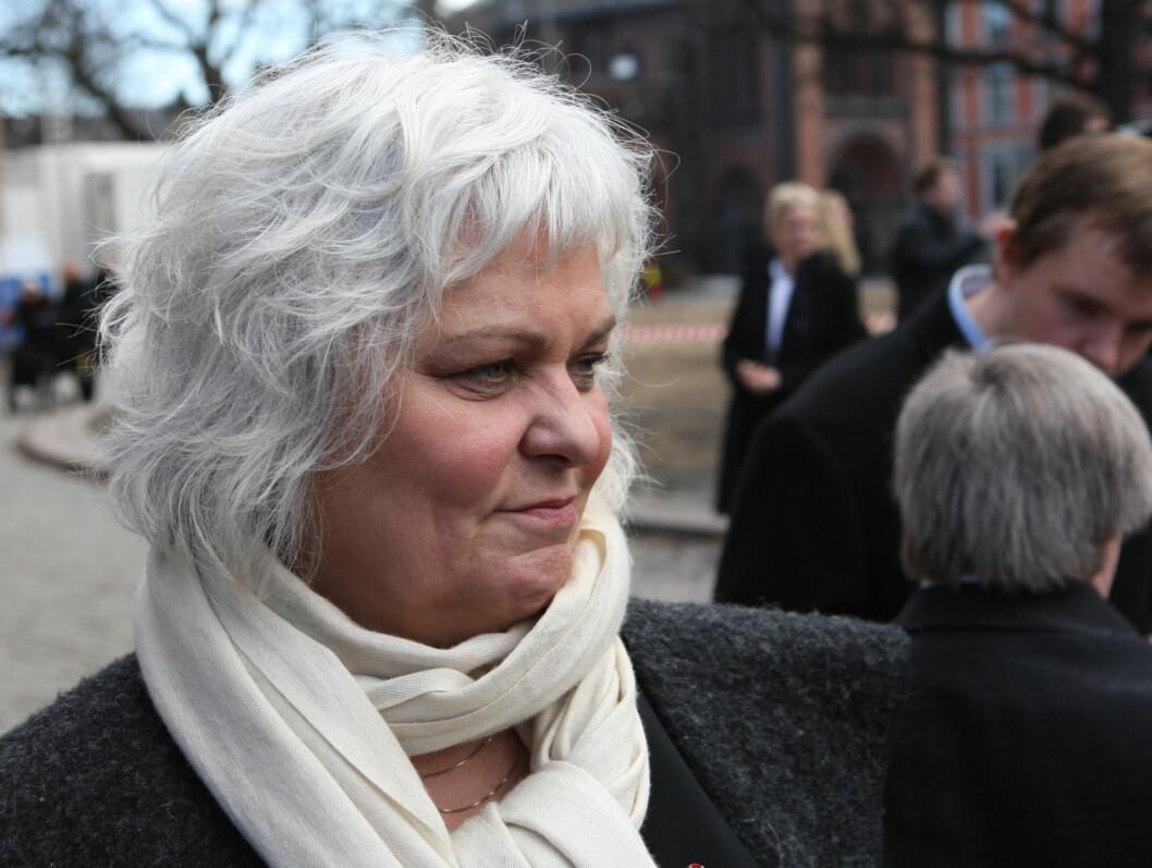 SNAKKET I KIRKEN: Ellen Horn snakket på vegne av teatermiljøet i kirken. Foto: Per Ervland/Seher.no