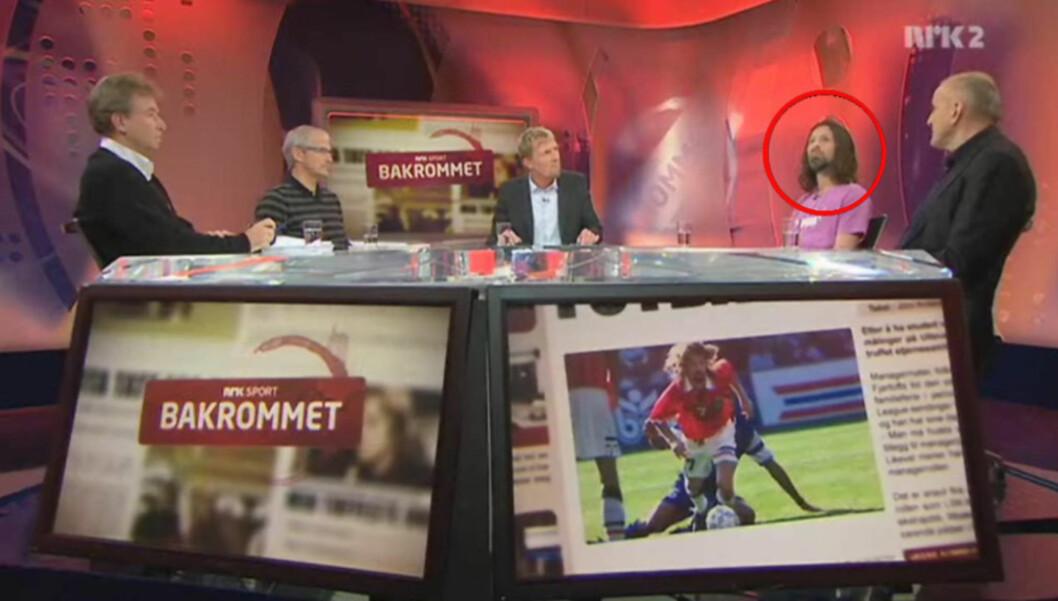 <strong>PÅ TV:</strong> Erik Mykland var tilbake på TV-skjermen tirsdag, da han var gjest i NRK-programmet «Bakrommet». Foto: Printscreen NRK
