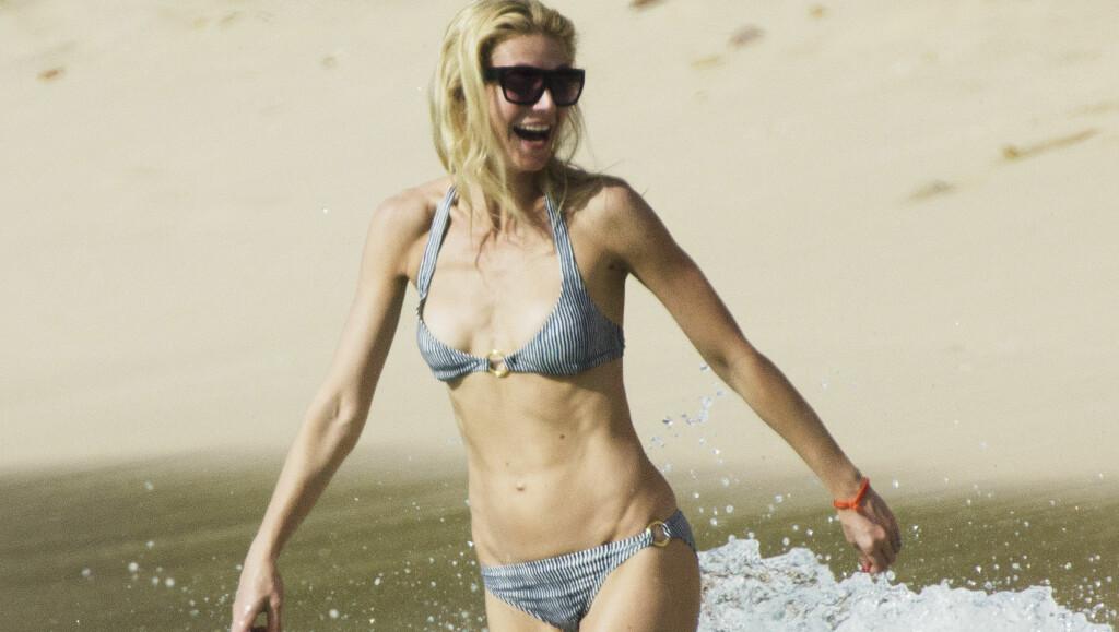 SLANK: Under en strandferie på Barbados nylig, viste 38-åringen fram sin svært slanke kropp.  Foto: All Over Press