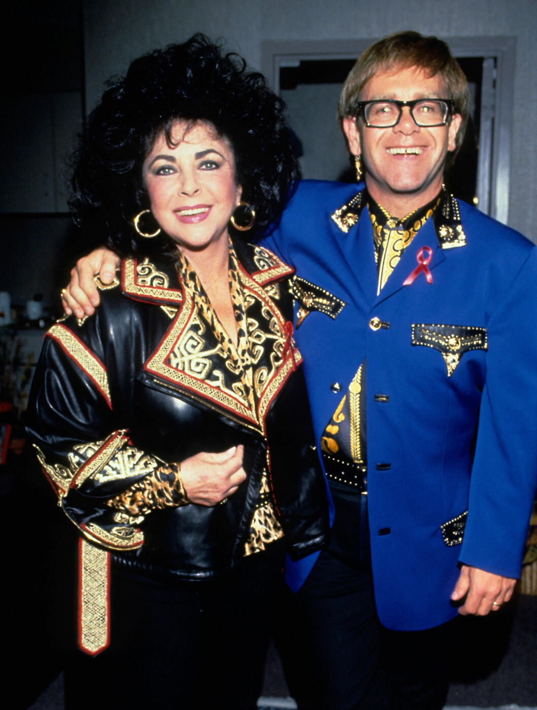 <strong>1992:</strong> Elizabeth Taylor og Elton John sammen på Shea Stadium i New York.  Foto: All Over Press