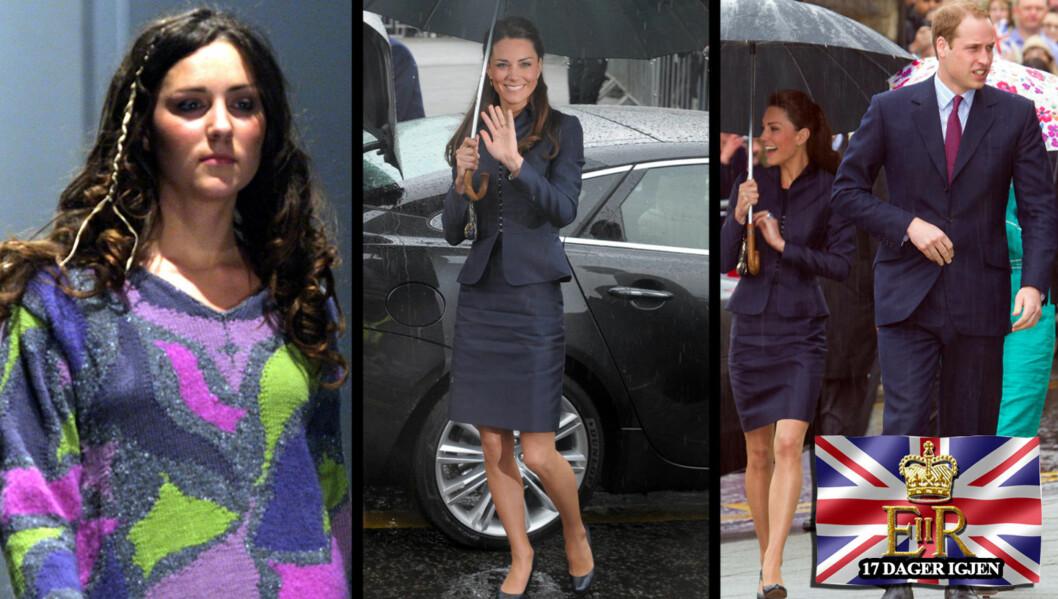 <strong>STOR FORVANDLING:</strong> Kate Middleton har forandret seg på mange områder siden bildet til venstre ble tatt på catwalken i 2002. På bildene til høyre er hun avbildet mandag, tynnere og mer selvsikker enn noen gang. Foto: All over press