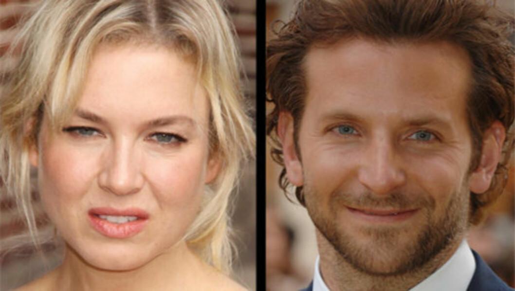 OVER: Renée Zellweger og Bradley Cooper har både spilt sammen på film og vært kjærester i privatlivet. Men nå skal forholdet deres ha tatt slutt. Årsaken til bruddet er ikke kjent.