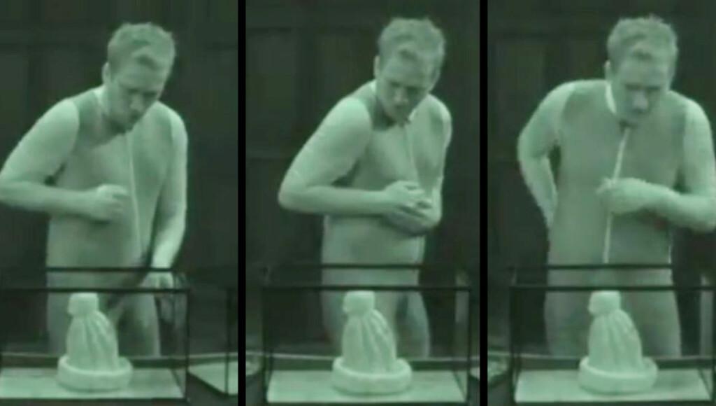 SKREMMENDE LUE: Tage Almark bidrar sterkt til nær verdensrekord i banning på TVNorge mye takket være denne topplua som skremmer vettet av ham.  Foto: TVNorge