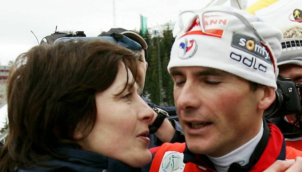 DRØMMEPARET: Skiskytterparet Liv Grete og Raphael Poirée giftet seg i 2000. Til Seher.no forteller hun at det var vanskelig å reise fra ektemannen og døtrene for å spille inn «Mesternes Mester». Foto: SCANPIX