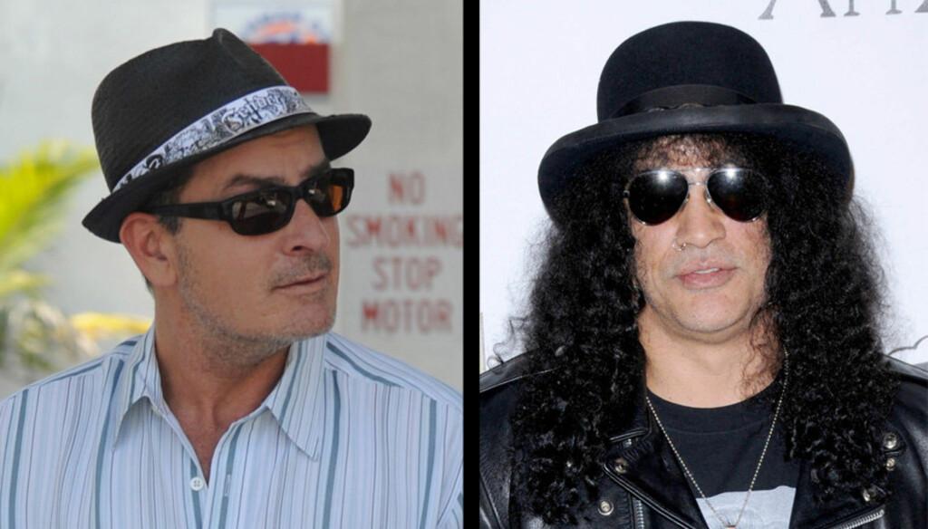 TO GODE NABOER: Slash har bare gode ord å si om sin nabo, skandaleskuespilleren Charlie Sheen. Foto: Stella Pictures