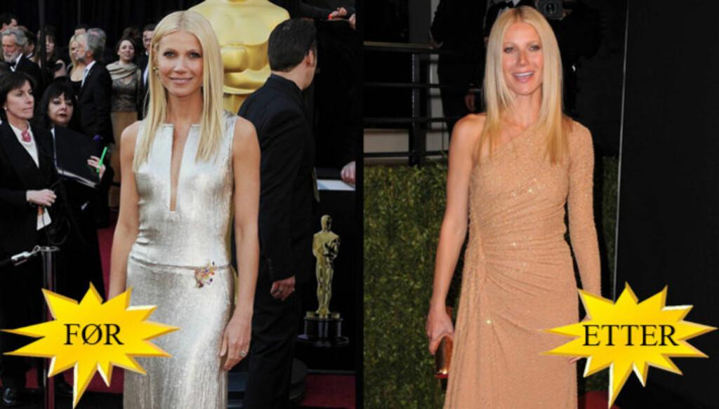 BYTTET KJOLE: Da Gwyneth Paltrow ankom Kodak Theatre i Los Angeles var det i en elegant kjole fra Calvin Klein, mens hun senere på kvelden var iført Michael Kors-kjolen hun brukte under sin sangopptreden i showet. Foto: All Over
