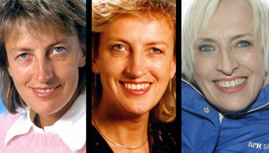 NRK GJENNOM ÅRENE: Karen-Marie Ellefsen har vært sportskommentator i mange år. Her er hun i 1988, 2000 og 2011. Foto: NRK / Stella Pictures