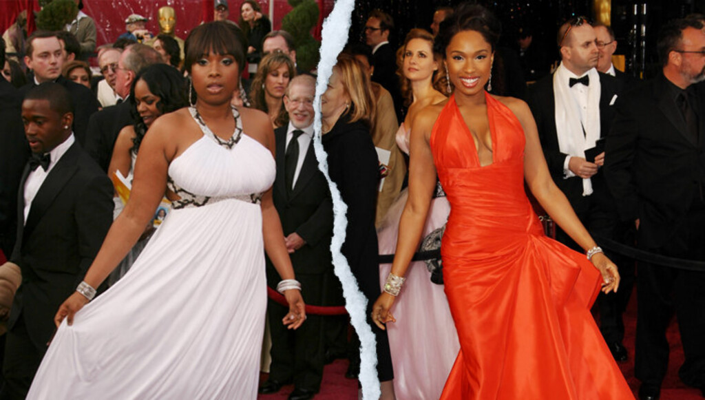 FØR OG ETTER: På bildet til venstre er Jennifer Hudson avbildet på den røde løperen i 2008. Siden den gang har hun gått kraftig ned i vekt. 37 kilo seinere er hun på den røde løperen på nattens Oscar på bildet til høyre. Foto: Stella Pictures