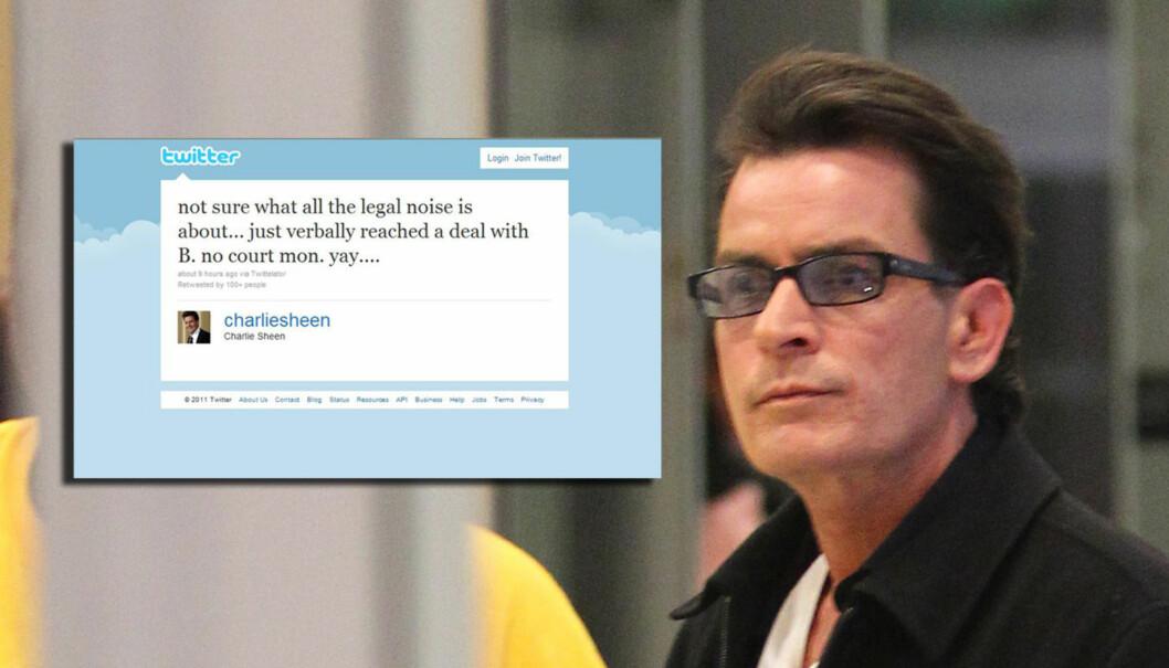 MELDINGEN: Charlie Sheen skrøt av avtalen hadde hadde oppnådd med Brooke Mueller på Twitter. Det skulle han ikke ha gjort.  Foto: All Over Press