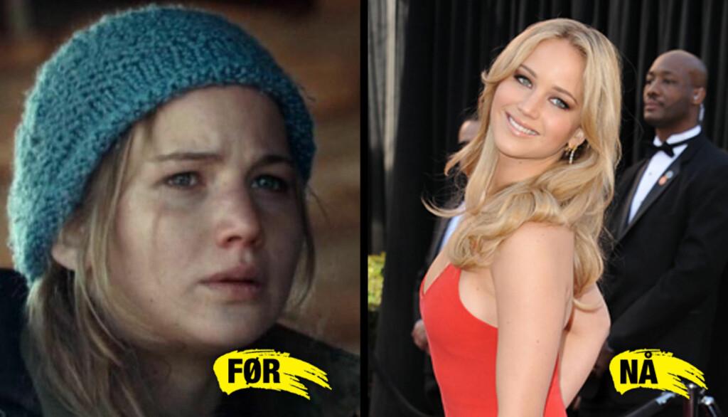 KONTRASTER: Kontrastene er store fra Jennifer Lawrences rolle i «Winter's Bone» til nattens Oscar-utdeling, der hun kom i en nydelig rød kjole.