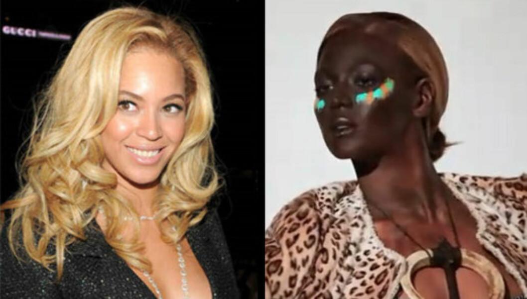 LYS OG MØRK: Beyoncé har vært svært lys i det siste, men på photoshoot med det franske magasinet ble hun forvandlet til en mørk skjønnhet. Foto: All Over Press / YouTube.com