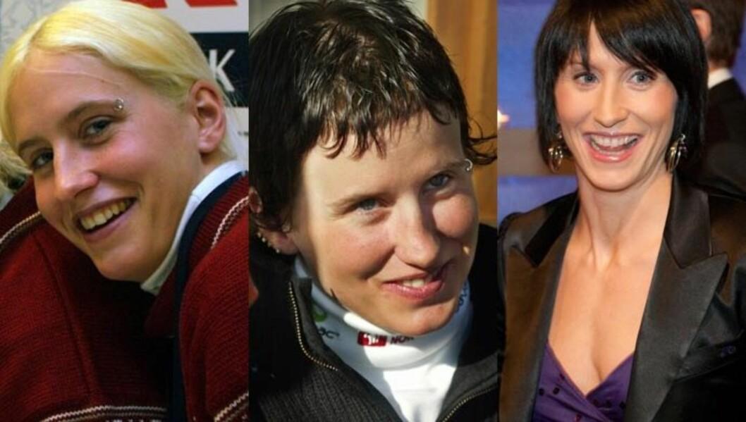STOR FORANDRING: Marit Bjørgen har forandret seg mye siden debuten på VM-laget i 2001 (t.v) og ski-VM i 2003 (midten). På Idrettsgallaen strålte hun, en måneds tid før ski-VM i Oslo (t.h).  Foto: SCANPIX/ Stella Pictures