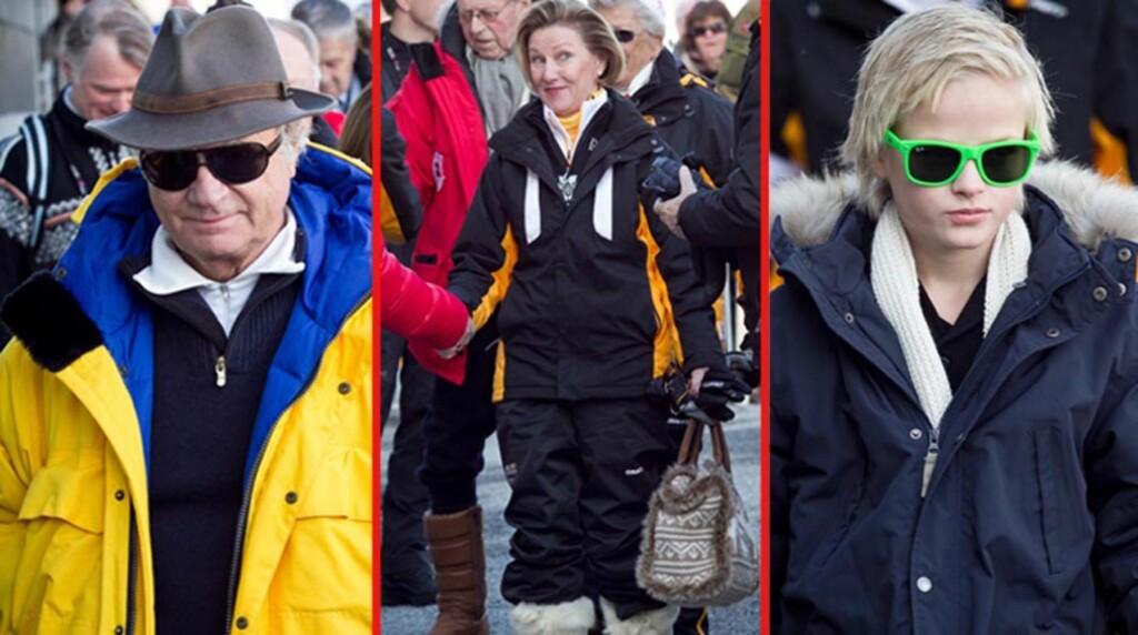 KULE KONGELIGE: Sveriges kong Carl Gustaf, dronning Sonja og kronprinsesse Mette-Marits sønn Marius kan feire søndagens femmil og VM-avslutning i kul stil... Foto: Stella  Pictures