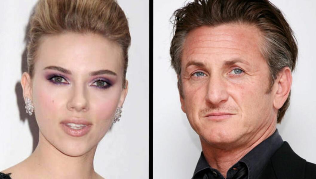 <strong>BARE VENNER:</strong> Ifølge «Lost in Translation»-stjernens talsperson er det ingen romanse på gang mellom Scarlett Johansson og 50 år gamle Sean Penn. Foto: Stella Pictures