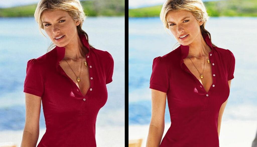 FINN ÉN FEIL: Photoshop-tabben får nok mer oppmerksomhet enn t-skjorten Marisa Miller reklamerer for på bildet til venstre. Etter at tabben ble omtalt, har hun fått armen tilbake på motebildene til høyre, som ligger på Victoria's secrets hjemmeside Foto: www.victoriassecret.com