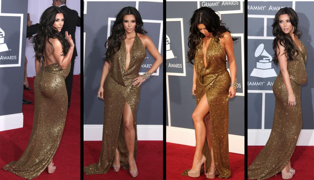 RUMPEPROBLEMER: Kim Kardashian fikk problemer med at rumpen hennes ikke passet inn i Grammy-kjolen. Men designerne reddet henne til slutt, så da fikk hun vist seg fra alle vinkler.  Foto: All over press
