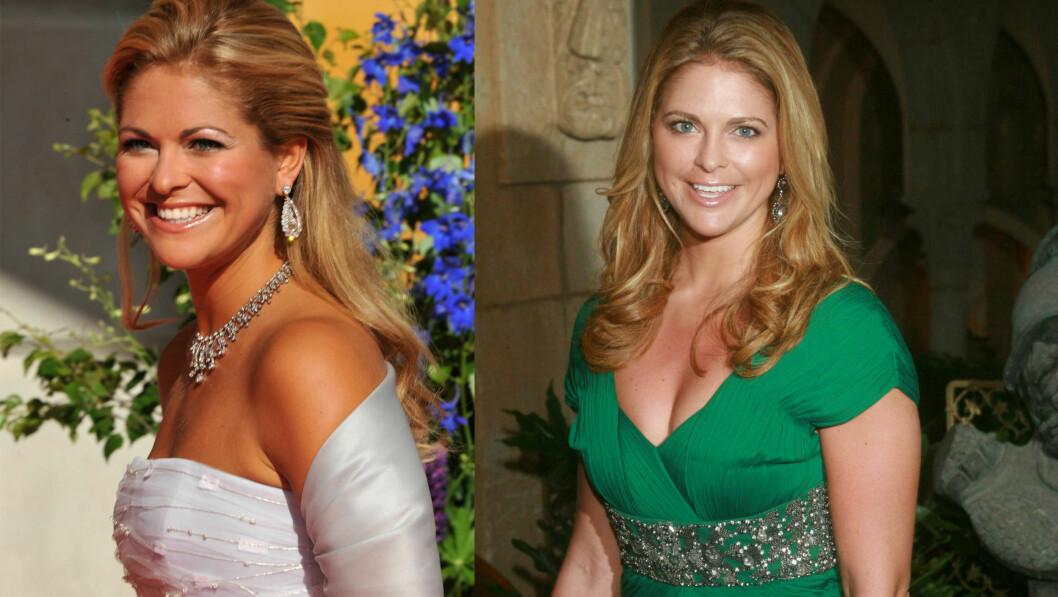 HETSES: Prinsesse Madeleines kropp har endret seg siden bryllupet til søsteren i juni (bildet til venstre). Men nå opplever den vakre prinsessen hets for bildene som ble tatt i New York i helgen (bildet til høyre). Foto: All over press