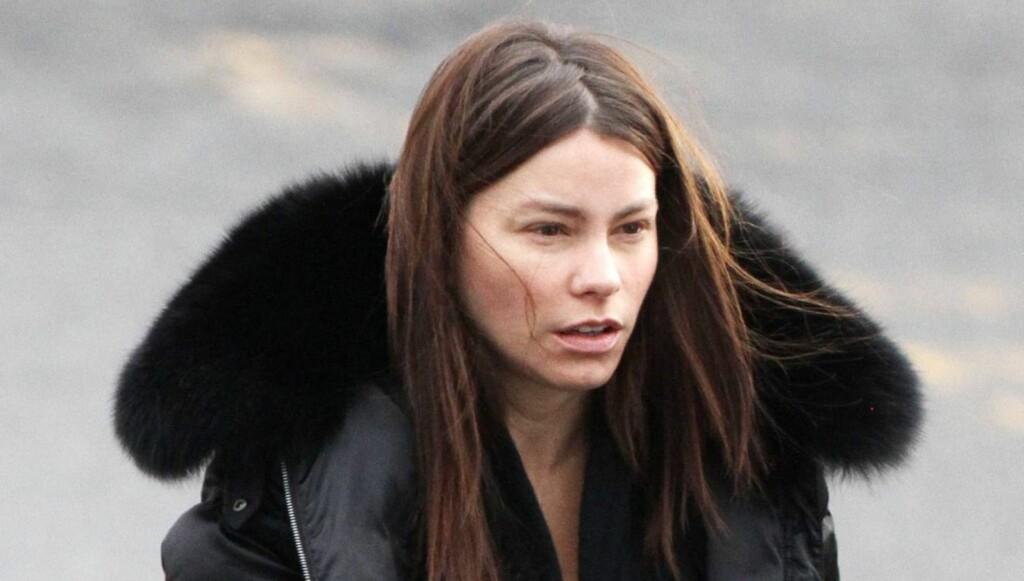 USMINKET: Slik så Sofia Vergara ut da hun ankom filmsettet til sin nye film «New Year's Eve» uten sminke. Foto: All Over Press
