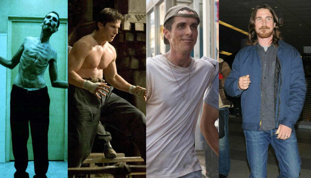 NED OG OPP: Christian Bale går igjennom store fysiske forandringer fra rolle til rolle. Her er han fra «The Machinist», «Batman Begins», «The Fighter», og sist avbildet i New York denne uka.