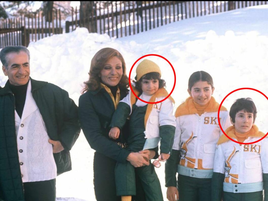 <strong>NÅ ER DE BORTE:</strong> Sjahn-familien i lykkeligere dager. Her sitter Leila Pahlavi på mamma Farahs arm, og prins Alireza er helt til høyre på bildet. Mohammed Reza Pahlavi til venstre på bildet.