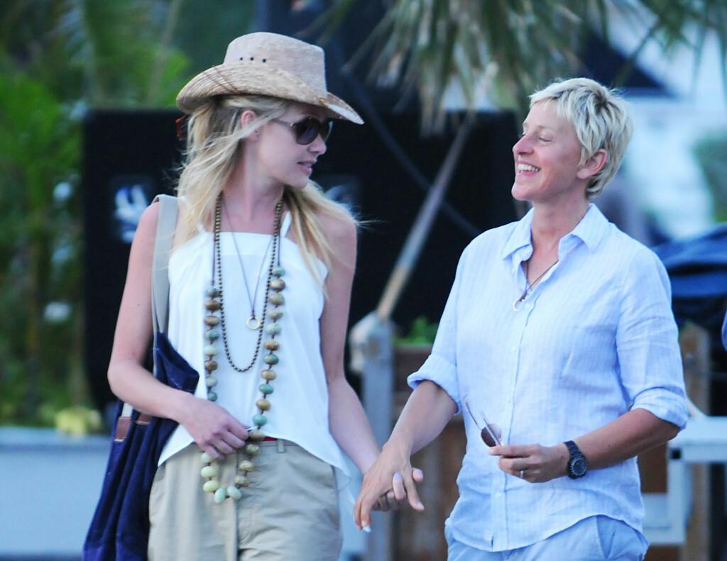 LYKKELIGE: Lykken smiler til Portia de Rossi og Ellen DeGeneres. Foto: Stella Pictures
