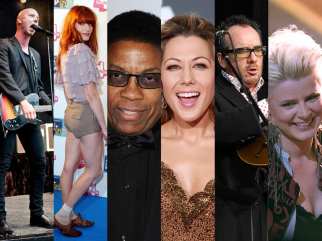 «MIDT PÅ TREET»: Sivert Høyem, Florence Welch fra «Florence + The Machine», Herbie Hancock, Colbie Caillat, Elvis Costello og Robyn. Foto: Scanpix / All Over