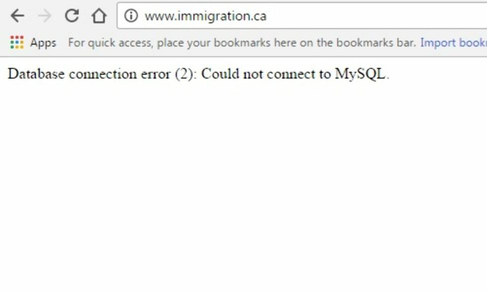 LÅ NEDE: Siden «www.immigration.ca» lå nede i natt. Det gjorde også de offisielle sidene til kanadiske myndigheter. Foto: Skjermdump/Dagbladet